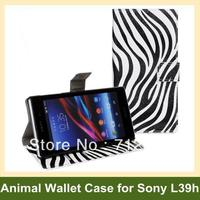 Luxury Zebra Leopard Print PU Leather Wallet Flip Cover Case For Sony Xperia Z1 L39h Free