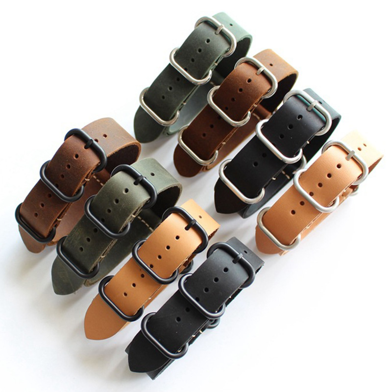 18MM 20MM 22MM 24MM 26mm Nato strap genuine leather black green brown yellow watch band Black buckle / silver buckle NATO straps eache 20mm 22mm 24mm 26mm genuine leather watch band crazy horse leather strap for p watch hand made with black buckles