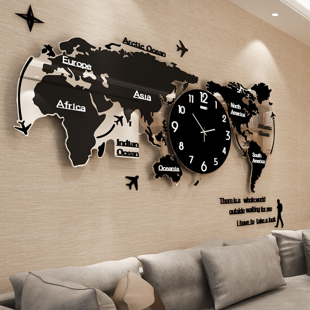 Creative Mute World Map Shape Personality Wall Clock Home Needle