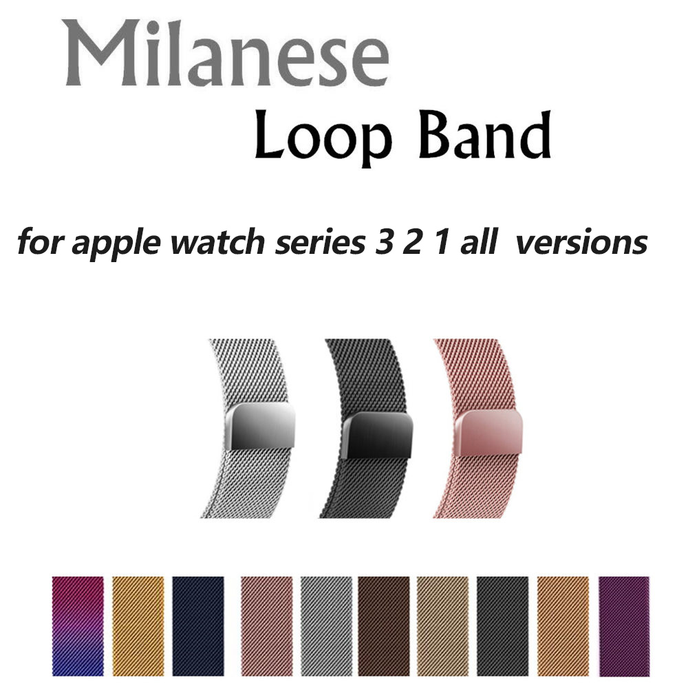 Milanese Loop For Apple Watch band strap 42 38mm Stainless Steel Link Bracelet watchband magnetic buckle for iwatch series 3 2/1