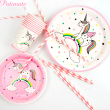 PATIMATE DIY Unicorn Party Disposable Tableware Bottle Sticker for Happy Birthday Decoration Kids Favors Balloons