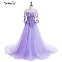 2017 Romantic women lavender color beach Evening Dresses long Prom Dresses party formal dress robe de soiree longue Sweep train