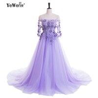 2018 Romantic women lavender color beach Evening Dresses long Prom Dresses party formal dress robe de soiree longue Sweep train