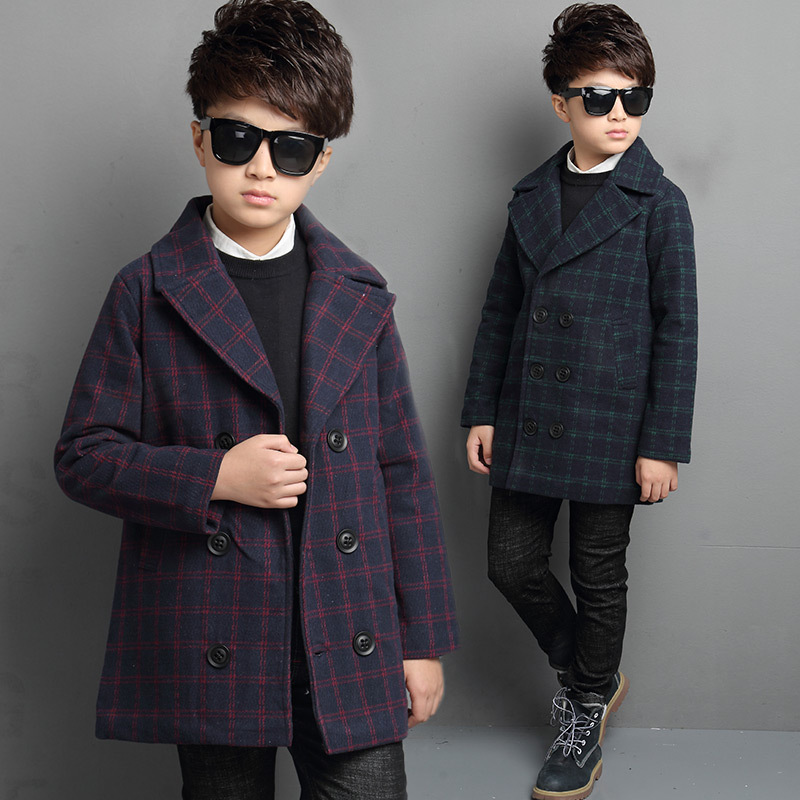 Boys Parka Winter Double-breasted Coat Kids Jacket 2017 Preppy Style Casual Thick Fashion Children Clotheing Warm Grid Overcoat women lady thicken warm winter coat hood parka overcoat long outwear jacket