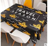 black white yellow color pineapple/boat pattern tablecloth cotton linen meal table cloth decorative table cover household