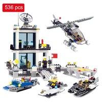 536pcs Building Blocks Police Station Prison Figures Compatible With Legoed City Enlighten Bricks Set Educational Toys