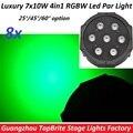 8 xLot Продаж Этап Лампы Плоский Пластиковый Led Par Света 7x10 Вт 4in1 RGBW Мыть Строб Эффект Огни Главная Партии DMX Контроллер оборудование