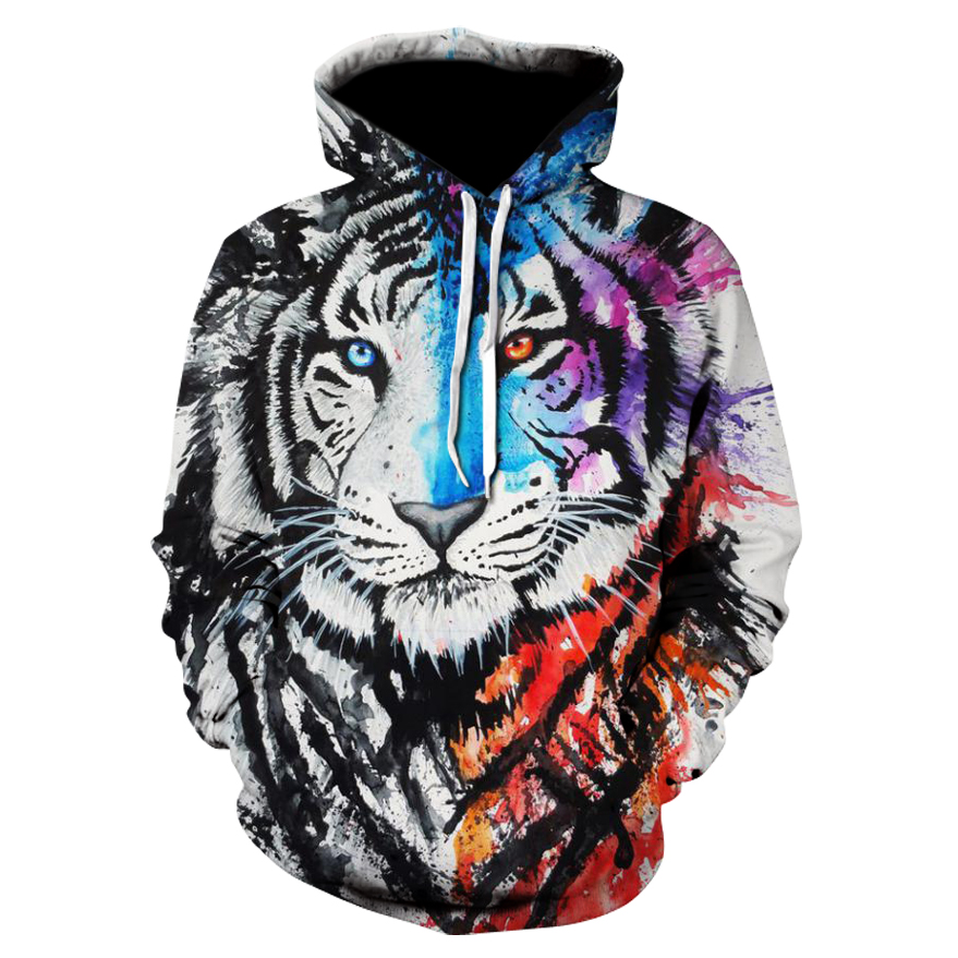 Brand New Animal-print Hoodie For Men 3d Painted Tiger Hoodie, 2019 Brand Pullover Stylish Tracksuit Street Coat