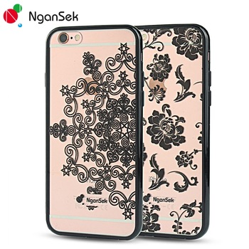 NganSek Phone Case For iPhone 6 6s 7 Plus Cover Mandala Damask Paisley Lace Floral Dream Hollow Flower SE 5 5S 3D Print Fone