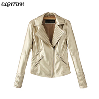 New personalized motorcycle coat stylish rivets Embossing PU leather jacket coat Slim short golden PU leather coat Female S XL