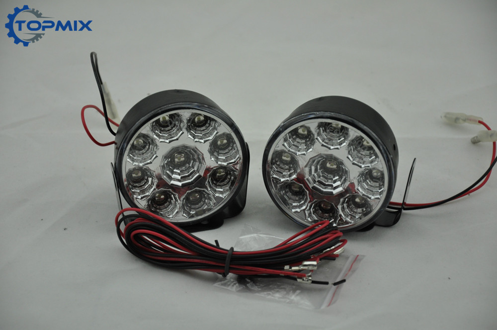 2PCS Bright White 9W LED Round Day Fog Light Head Lamp Car Auto DRL Driving Daytime Running 9 LED Car Fog Lamp Headlight 12V 2pcs super bright white 9 led head front round fog light for all car drl off road lamp daytime running lights parking lamp