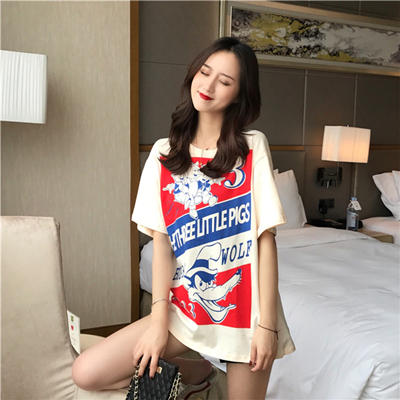 BGSOLID 2009 Spring and Summer New Cute Three Piggy Printed T-shirt Women's Short-sleeved Cotton Loose Round-necked Top