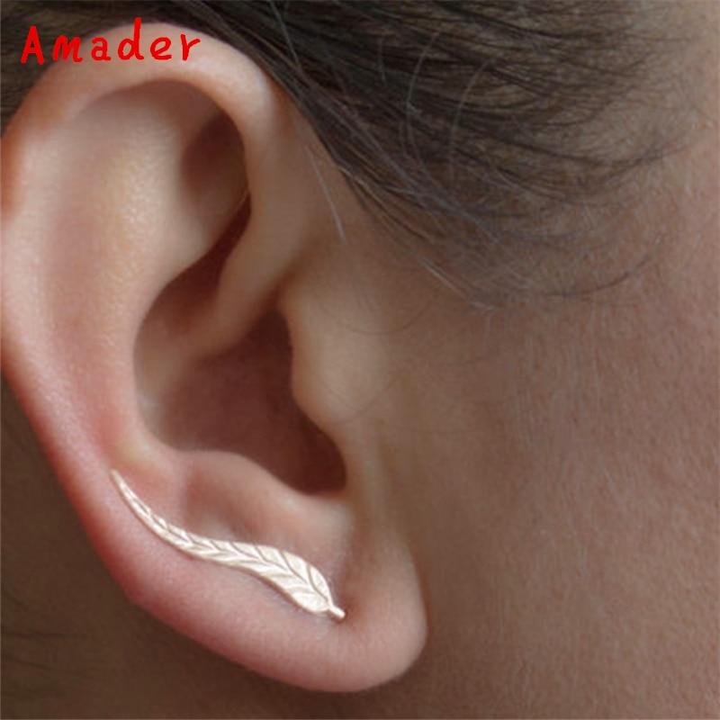 Style; Trendy Style Ear Sweep Wrap Silver Ear Climber Ear Clips Cuffs Leafs Earrings Jewelry For Women Wing Ear Earring 1 Pair Fashionable In