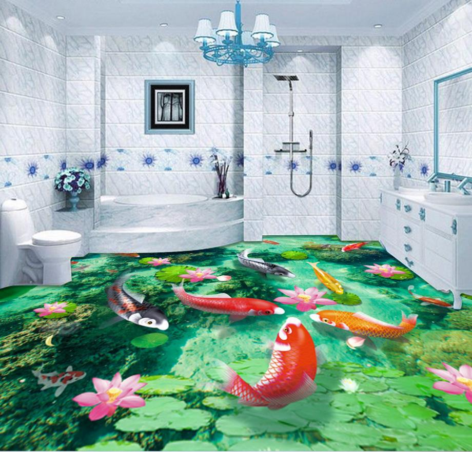 ФОТО 3d floor painting waterfall custom 3d floor bathroom fish pond self adhesive moisture-proof waterproof PVC murals
