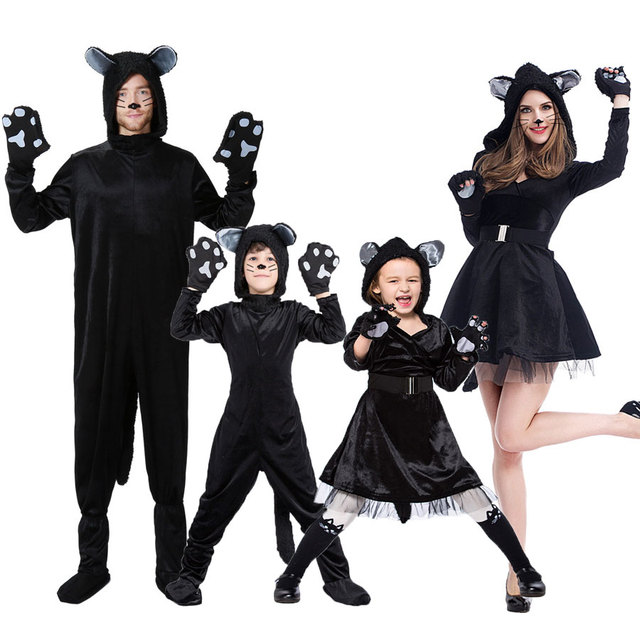Umorden Halloween Purim Party Costumes Family Matching Animal Black Cat  Costume Cosplay Jumpsuit for Adult Kids Girl Fancy Dress cafb6b851e3c