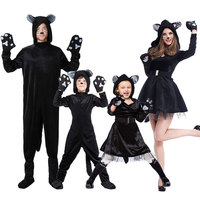 Umorden Halloween Purim Party Costumes Family Matching Animal Black Cat Costume Cosplay Jumpsuit for Adult Kids Girl Fancy Dress