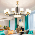 Современные золотые черные металлические светодиодные люстры  освещение для гостиной  стеклянные светодиодные подвесные люстры  Светильн...