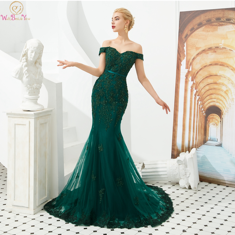 Green Mermaid Prom Dresses 2019 Long Lace Appliques Beaded Sequin Off Shoulder V Neck Zipper Evening Gown Walk Beside You Stock