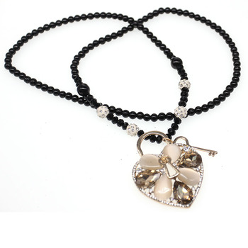 Valentine's Day long pearl chain choker nacelace with rhinestone bead heart shape love pendant necklace