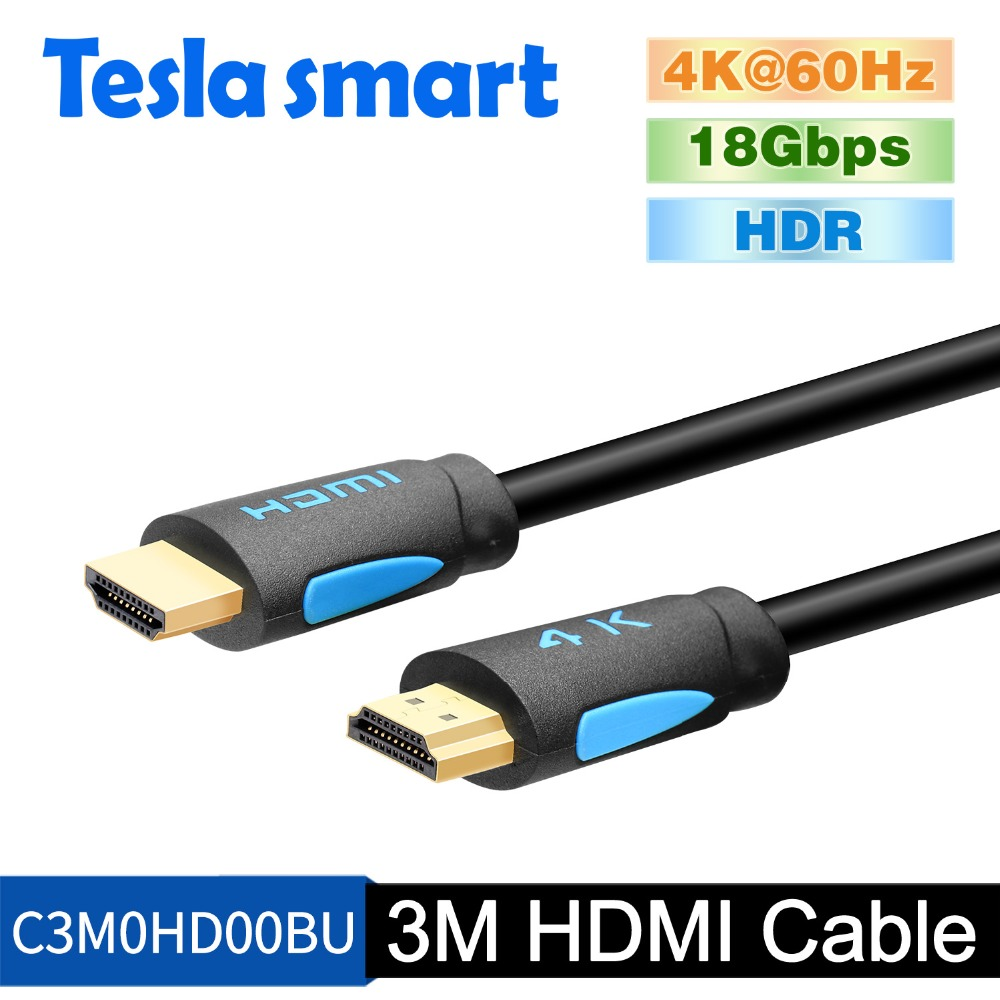 Tesla Smart HDMI 4K@60Hz HDMI To HDMI Cable 3m 10ft HDMI Cable Adapter 3D For Xbox360 LCD PS3 PS4 Projector Computer