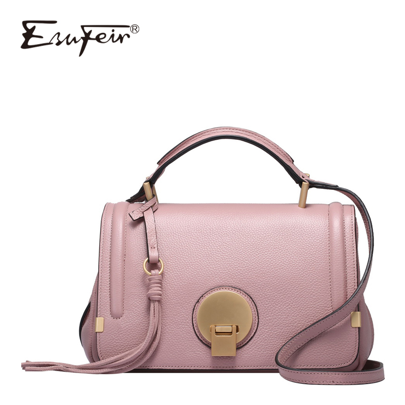 ESUFEIR Brand 100% Genuine Leather Women Shoulder Bag Cowhide Tassel Luxury Handbags Women Bags Designer Fashion Crossbody Bag new brand genuine leather women bag fashion retro stitching serpentine quality women shoulder messenger cowhide tassel small bag