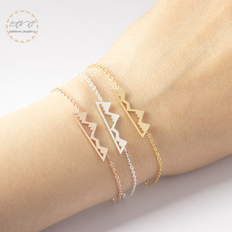 a02a9c224776c US $1.84 20% OFF|Dainty Gold Snow Mountain Bracelet Adventure Gift For  Women Pulseira Feminina Stainless Steel Charm Bracelet Hiking Jewelry-in  Chain ...