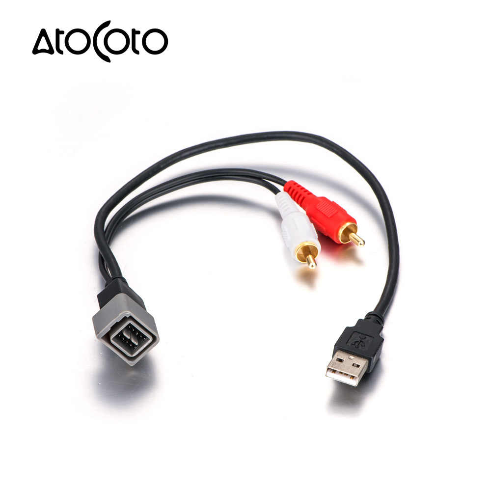 AtoCoto USB-NI1 OEM Radio 8 Pin interface USB Port Input Retention Cable for Nissan Car Audio Replacement