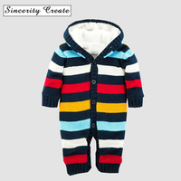 New Born Sweater Fleece Jumpsuit Hooded Striped Thick Warm Knitted Baby Boy Winter Romper One Pieces