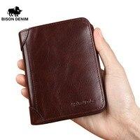 BISON DENIM High Quality Red Brown Leather Genuine Wallet Men Purse Card Holder Brand Men Wallets
