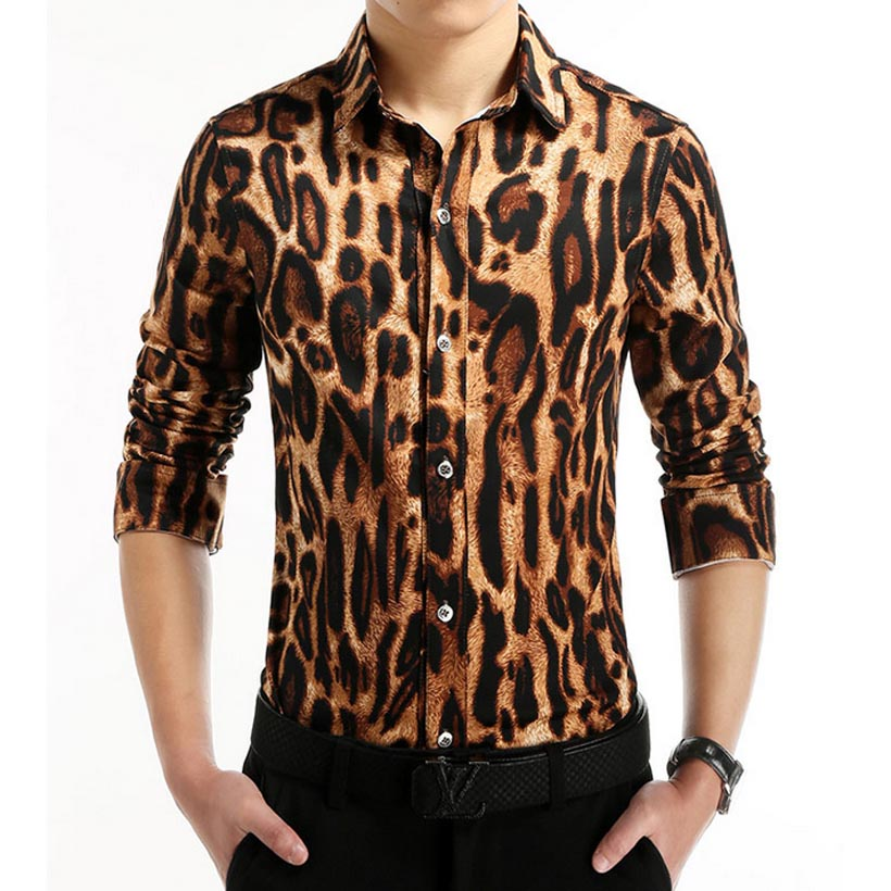 2016 Fashion Brand Leopard Print Men Shirts Casual Camisa Masculina Social Chemise Homme Korean Style Slim Dress Shirt 4XL 5XL