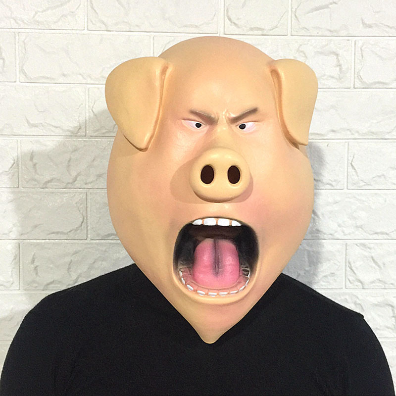 Angry Pig Latex Mask Cute Animal Halloween Mask Adult Horror Head Set Funny Cosplay Party Mask