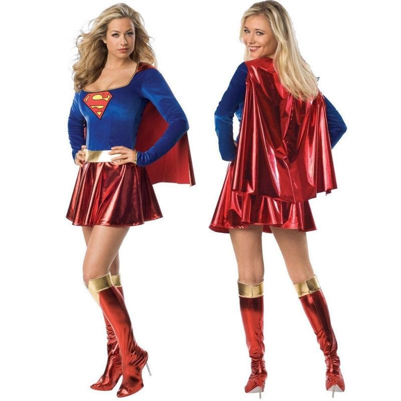 adult super hero super girl ladies wonder woman costume fancy dress women halloween customes blue women superman costumes - Heroes Halloween Costumes