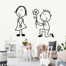 Creative boy and girl flower Wallpaper Home Decoration Wall Sticker Bedroom Nursery Accessories Murals naklejki