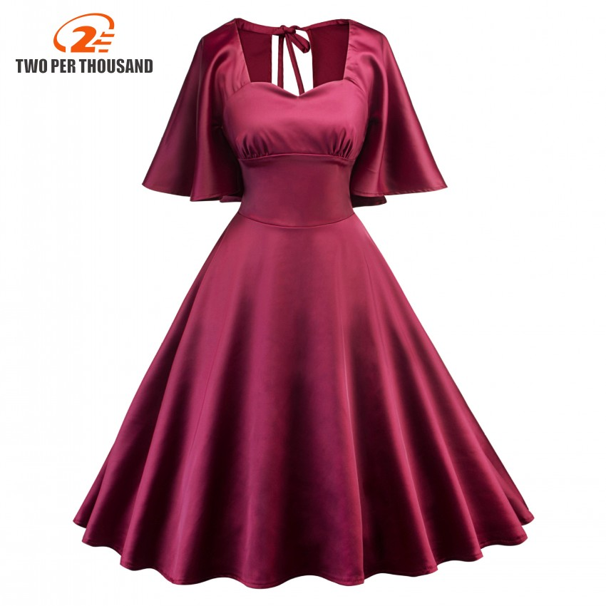 Elegant Cloak Sleeves Vintage Soft Silky Dress Women Burgundy Red Backless Party Robe Sexy Retro Dresses Vestidos