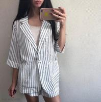 Summer Cotton Linen Tracksuit for Women One Button Blazer & High Waisted Short Striped Pant Suits 2 Pieces Set 2018 Feminino