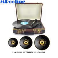 MPooling Bluetooth Portable Turntable 33/45/78 RPM LP Vinyl Record Player Built in Speakers Aux in RCA Line out Belt Drive