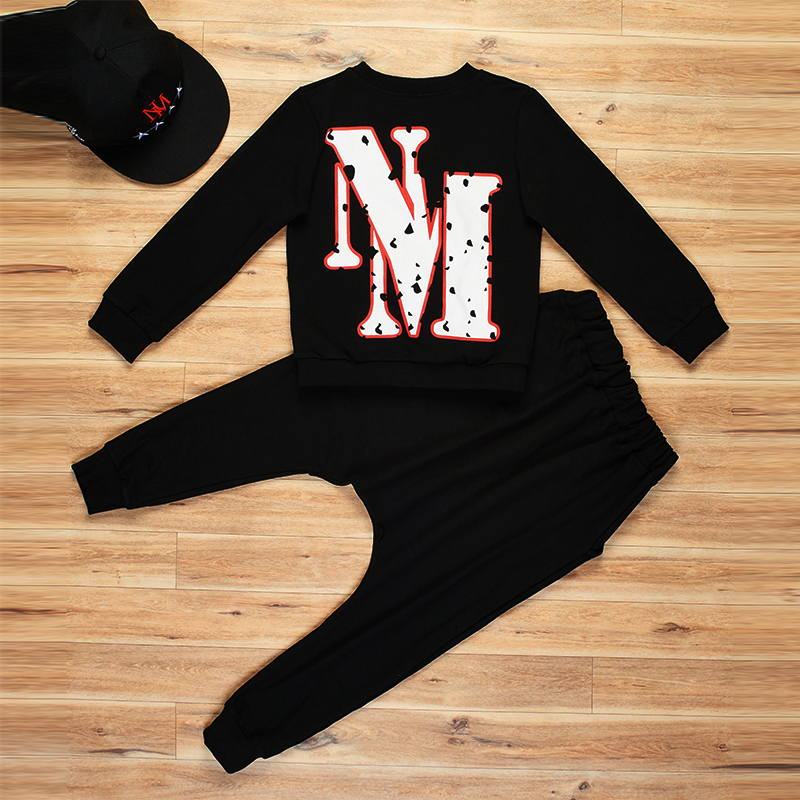 9 Bibihou new spring autumn kids clothes sets children 2 pcs Hip hop suit Shirt coat + Harem pants baby boys sport suits Color bar