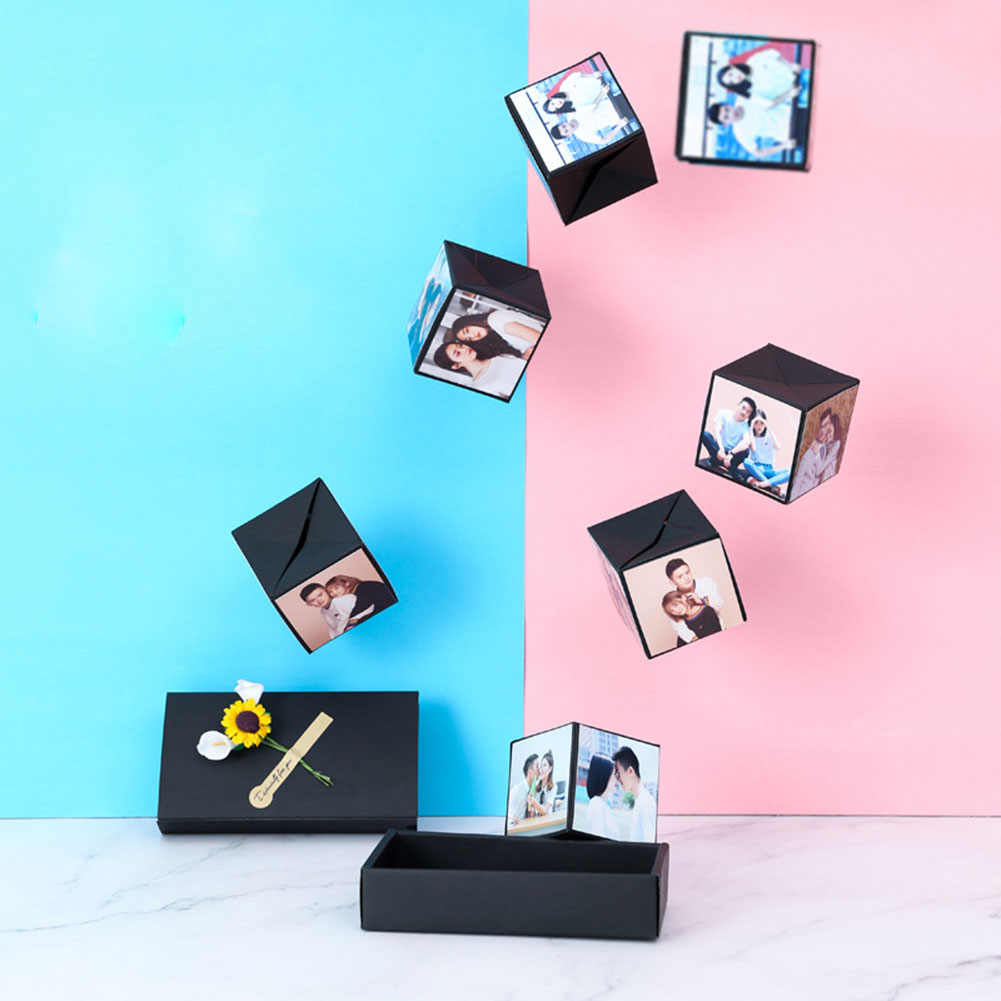 מסיבת מתנה מחזיק נייר מוצק מסיבת הפתעה להקפיץ קופסא מתנה פיצוץ ליום נישואים Scrapbook DIY אלבום תמונות מתנת יום הולדת