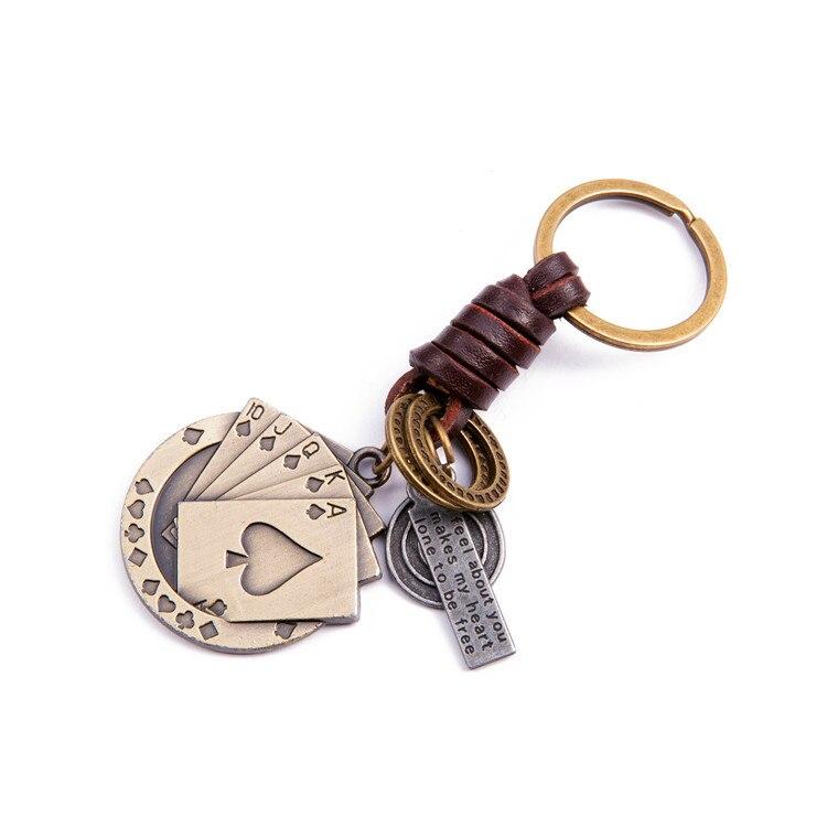 Alloy Vintage Poker Flush Key Rings Braided Cowhide Keychain Pendant Gift For Friends 1PCS