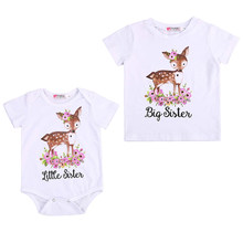 96678f1e3be8 Newborn Toddler Kids Girl Short Sleeve Floral Deer Tops Little Sister  Romper Bodysuit Big Sister T-shirt Family Match Clothes