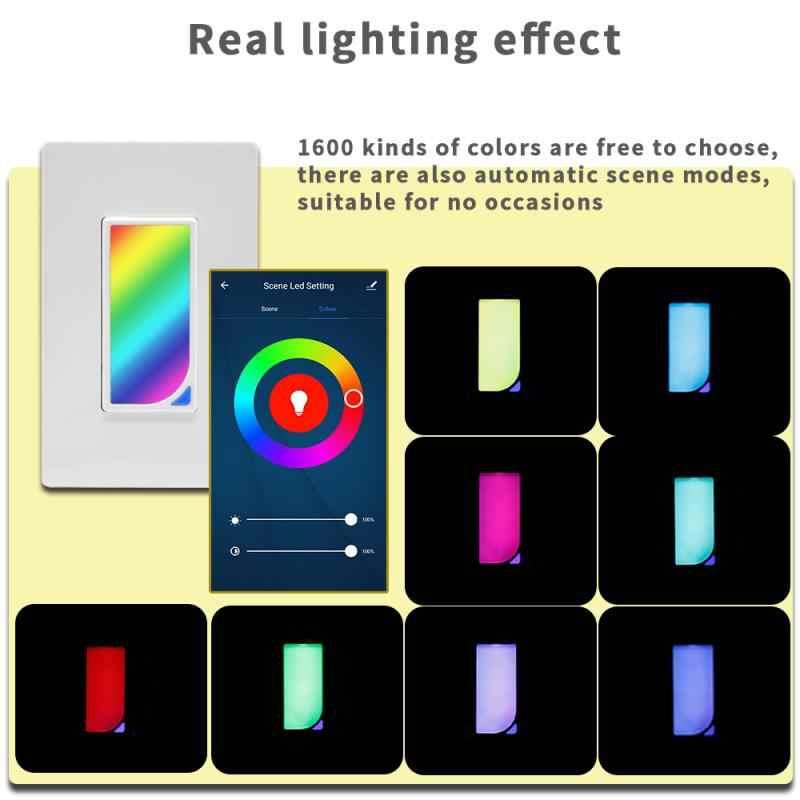 Wifi In-Wall RGB LED Scene inteligentny włącznik światła zmiana koloru za pomocą zdalnego sterowania głosem i odliczania czasu działa z Alexa
