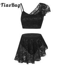 acb3d886813b TiaoBug Women Lace Asymmetric Contemporary Lyrical Dance Costume Adult  Ballerina Crop Top Ballet Tutu Skirt Gymnastics