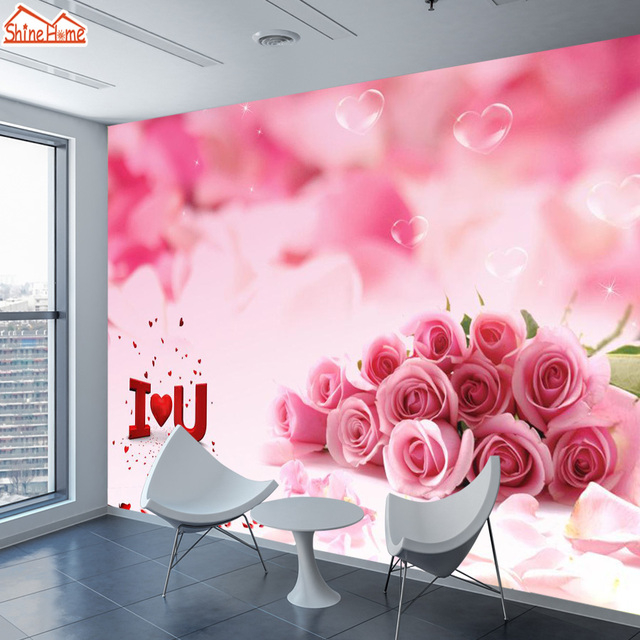 35d166973751 ShineHome-Custom Romantic Rose Floral Nature Picture Photo Wallpapers for  Wall 3 d Girls Living Room TV Bar Bedroom Murals Roll