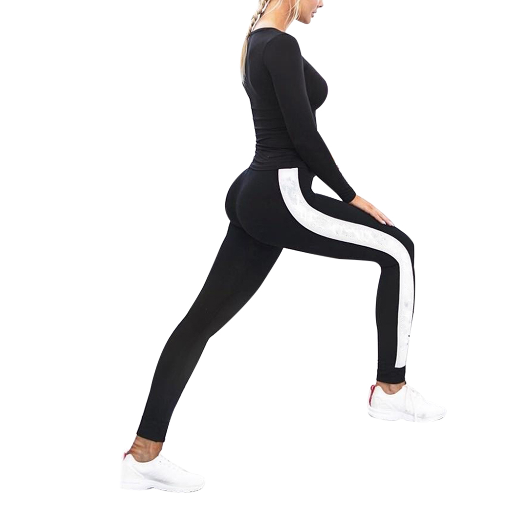 Leggings Elastic Side White Wide Line Leggings Printing Women Fitness Legging Push Up Pants Clothing Sporting Leggings A4