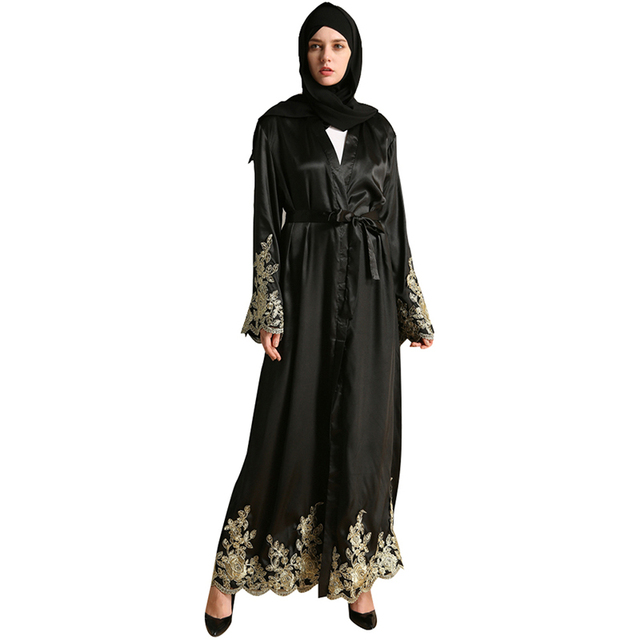 cce6859eaecae Babalet Womens' Modest Muslim Islamic Dubai Jilbab Floral Lace Embroidery Long  Sleeve Long Maxi Black Abaya Belt Ramadan EID