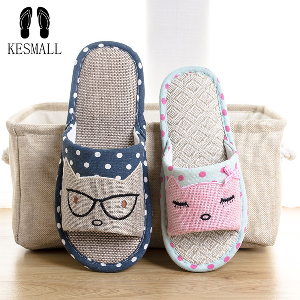 KESMALL 2018 New Flax Home Slippers Indoor Lovers Shoes Silent Cartoon Cat Slippers Summer Women Sandals Linen Slippers WS133 children parents boys girls cartoon bathroom slippers summer women home slippers lovers slides flat with indoor fashion new