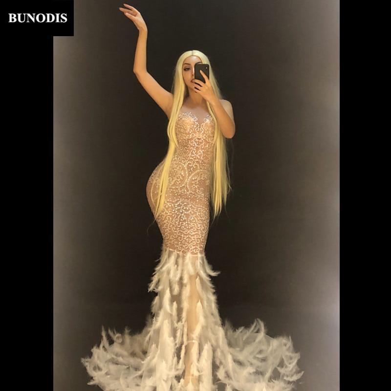 Fil Mousseux Bling Fête Bu439 Blanche Nouveau 2019 Cristal Longue Jupe Net Femmes D'anniversaire Usage Discothèque Costume Plume Sexy D'étape O1Xfqn1Tv