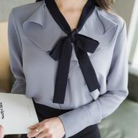 GUGULANG Ruffles Bow V Neck Long Sleeve Autumn Fashion Women Chiffon Blouse Shirt White Blue S
