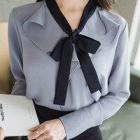 Ruffles Bow v-cuello de manga larga moda Otoño mujer gasa blusa camisa Blanco/azul s/m/L/ XL/XXL