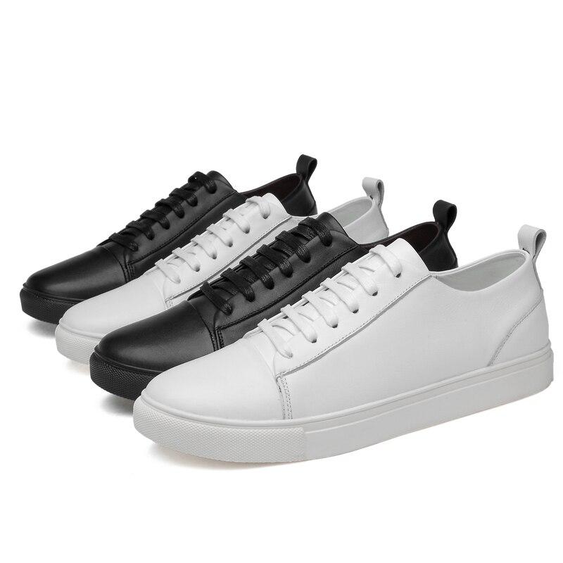 Pu Classique Noir En blanc Plein Fashion Chaussures Respirant Mode Appartements Mycolen Casual Homme Cuir De Luxe Marque Top Nouveautés Plat Air Kl1TJFc3
